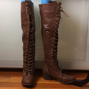 Knee High Brown Lace Up Boots